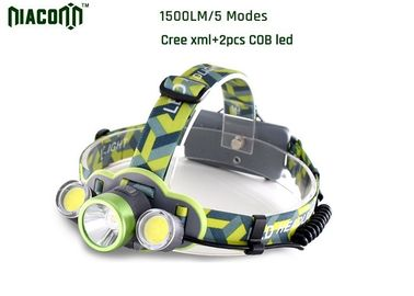 Waterproof Rechargeable Led Headlamp , 1500lm CREE Rechargeable Headlamp